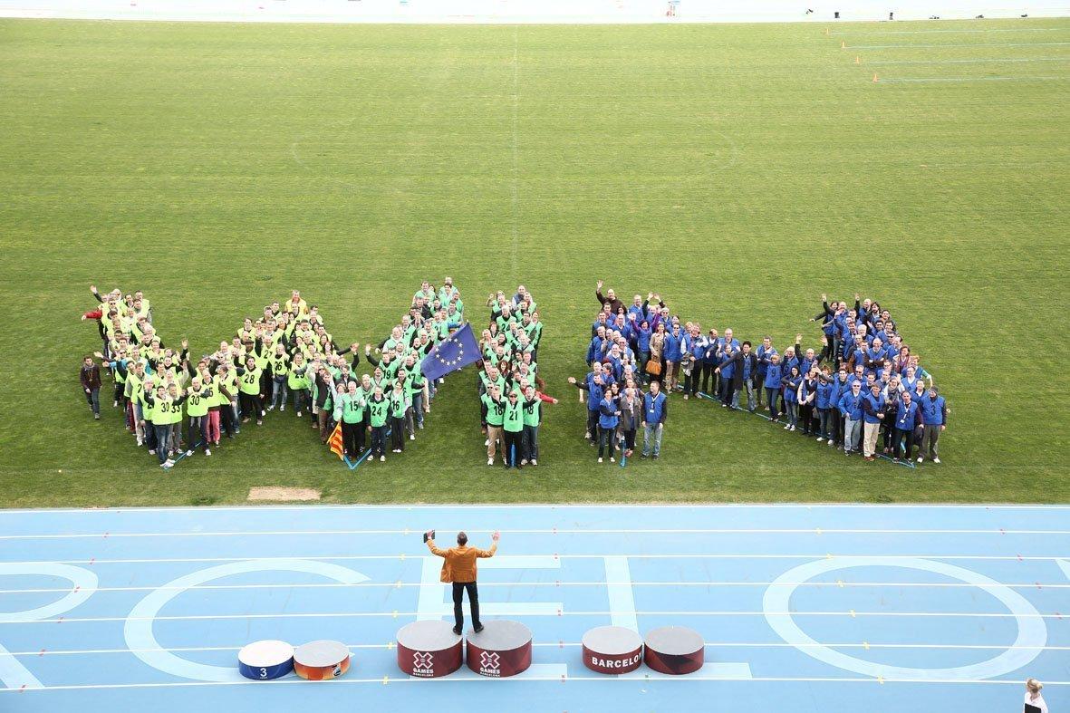 Human logo Teambuilding Olympic Stadium barcelona