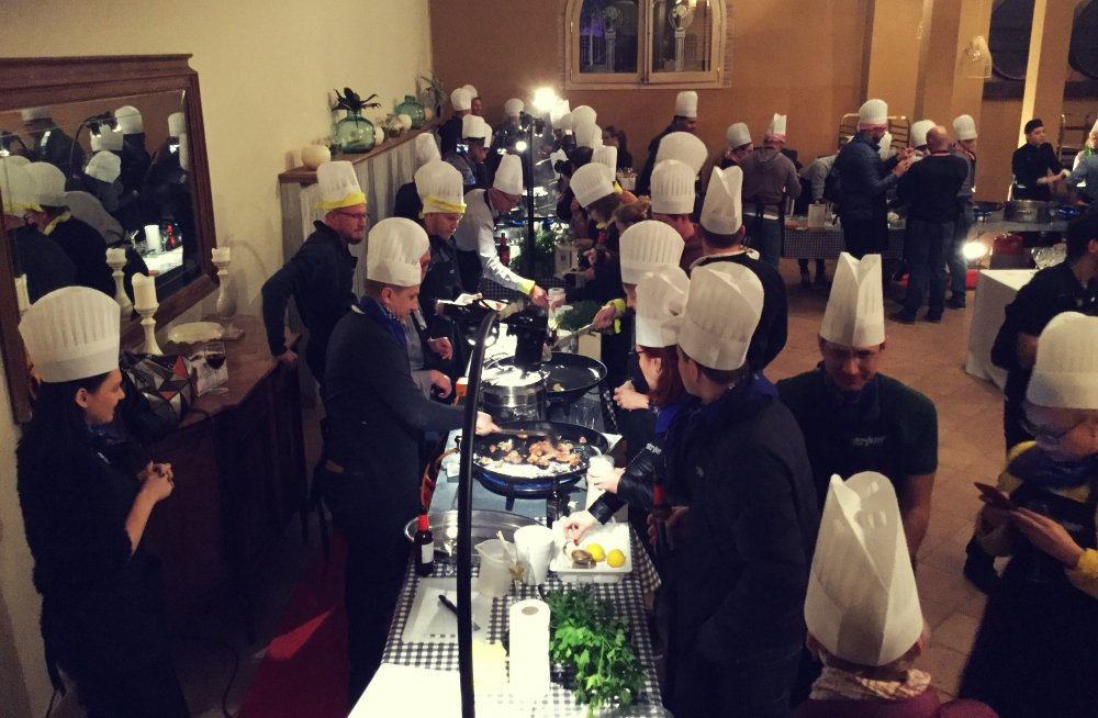Paella cooking team building