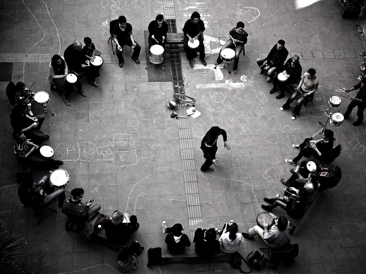 Drum circle team building activity